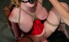 Gagged and fucked hogtied slave