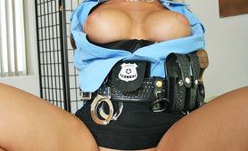 Sexy cop Sarah rides huge hard cock