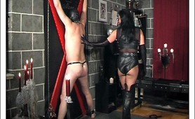 Horny mistress whips and humiliate male slave
