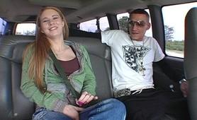 Teen slut fucked and facialized on backseat