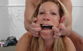 Nasty blonde whore doggyslammed in bed