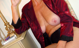 Smoking granny shows her tits