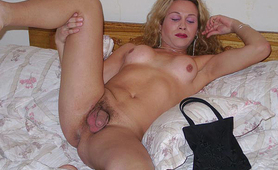 Blonde amateur shemale loves spreading her dick