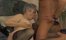 Grandma enjoying a young cock to suck