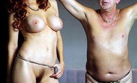 Blindfolded old guy perverted by hot busty domina