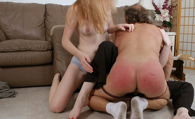 Naughty boy ass spanked till turns red