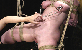Hogtied in mid air slave pussy and nipple torture