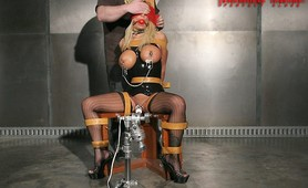 Hot big tits latex slave tied up for submission