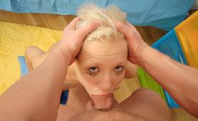 Young slut deepthroating a huge cock