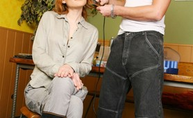 Redhead Chick analized by her bigdick hair stylist
