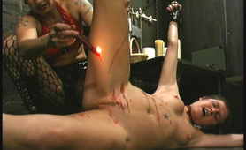 Candle waxing on horny slave pussy