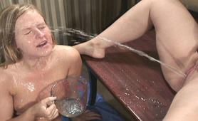Nasty slut gets a piss facial