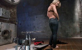 Sexy blonde fucked by machines