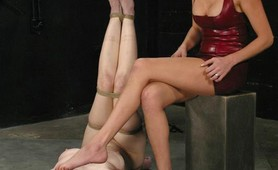 Gagballed blonde tiedup and wired pussy