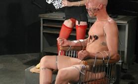 Captive male tortured by sadistic redhead