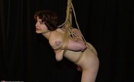 Sexy Rose endures tight fetish bondage punishment