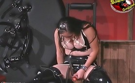 Bound sexy fetish slave dildoing pussy