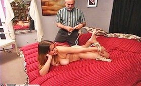 Old Pervert Disciplines Teen in Ropes