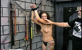 Submissive slave whipped hard and tiedup