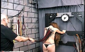Horny slave sore from spanking and severe whipping