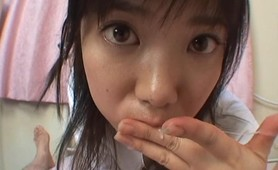 Asian teen cutie sucking hard dicks