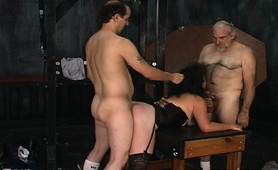 Amateur bitch bondage threesome fucking