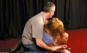 Amateur bondaged milf endures the pain