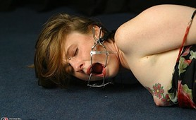 Bound fetish slave cries for help