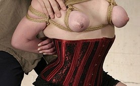 Nina suffers tit abuse in hogtied punishment
