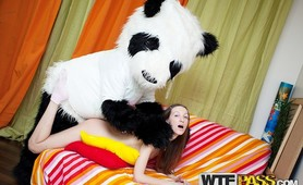 Young girl gets intense with Panda