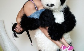 Hot strap on fuck for panda and teen