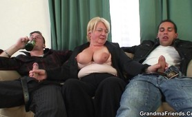 Drunken granny fucked by two