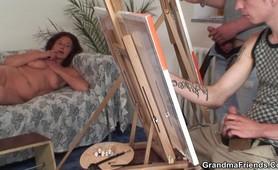 Penetrating a redheaded granny deep