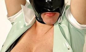 Kinky amateur Latex blackout mask