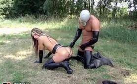 Masked man fuck outdoors