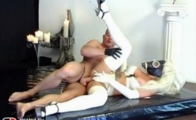 Master and her latex fetish slave