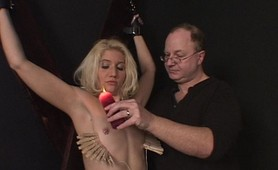 Blonde Sapphire gets a hard spanking then some extreme breast bondage action