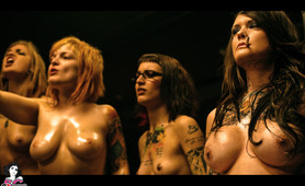 Sexy Tattoed tough girls fight club