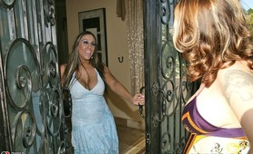 Alisandra sticks a big hard cock between her huge tits