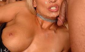 Gorgeous blonde whore gangbang anal hardcore