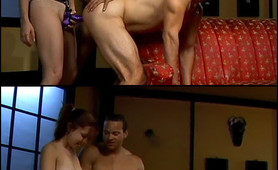 Petite Naughty Chick Enjoy a Bi Fuck Show While Masturbating