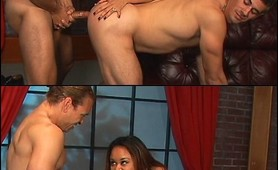 Strap on Asian whore hardcore bisexual fucking