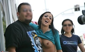 Stephanie Cane strolls on the streets of LA flashing her goodies to her fans