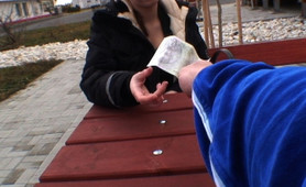 Bus stop horny cutie blows hard dick in public
