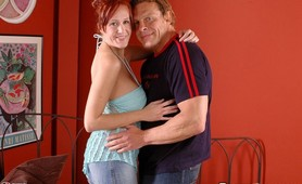 Cougar redhead hardcore tit pounding and jizzed on