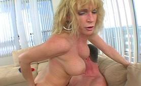 Busty blonde milf deep blowjob and banging