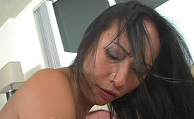 Busty Asian milf whore doggyfucking action