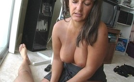 Milf bares her big perfect tits banging her hubby