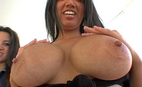 Latina beauties with big natural melons pounded hard from behind
