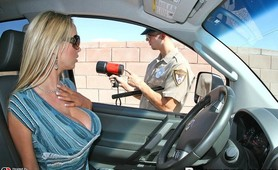Nikki Benz sucks on officer OBDs big hard dick